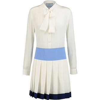 Blue & White Silk Pleated Prep Dress