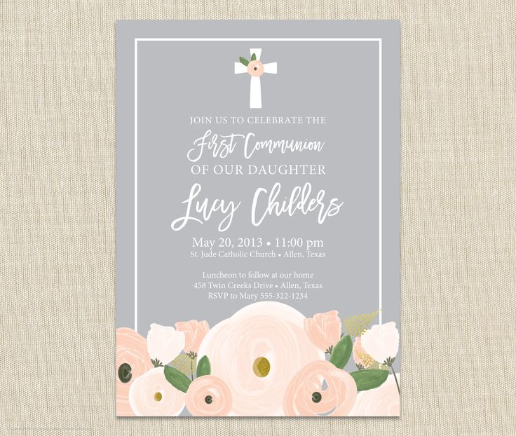 Floral First Communion Invitation from Brown Paper Studios