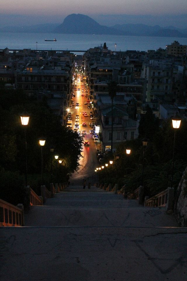 Patras, Greece I remember climbing these steps at this very same time of day! Beautiful!