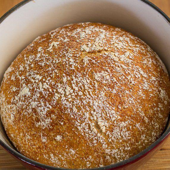 No Knead Dutch Oven Whole Wheat Bread