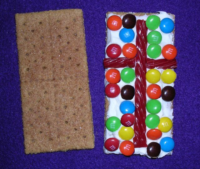 Great idea for Sunday School this week! Graham cracker, M&M's, licorice & frosting