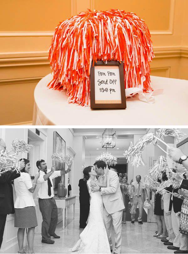 Sports themed wedding ideas: pom pom send off