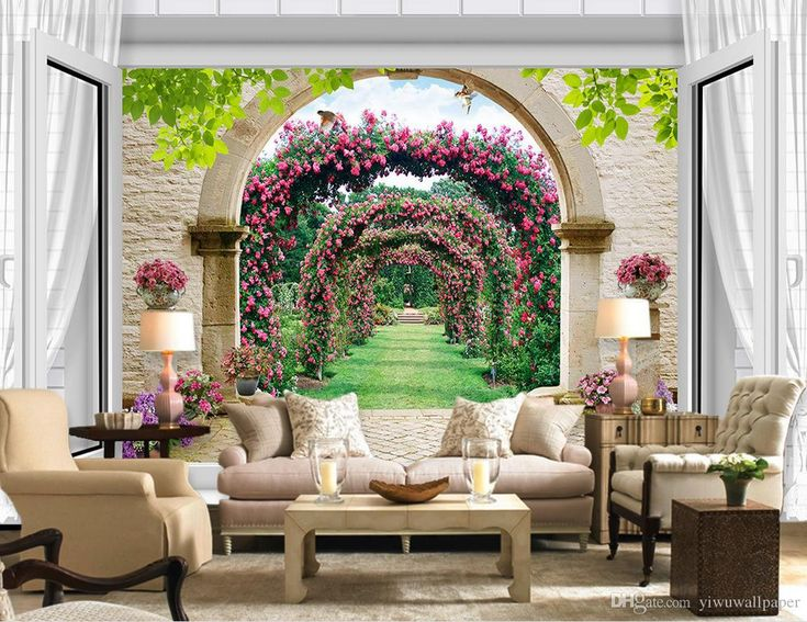 European-style 3D three-dimensional window rose TV wall mural 3d wallpaper 3d wall papers for tv backdrop
