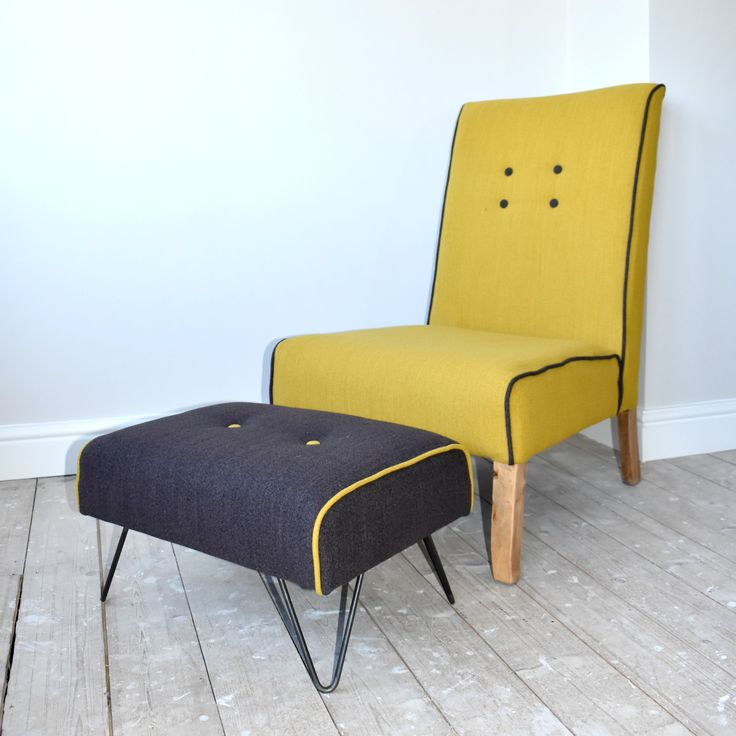 Mid-Century style chair, upholstered in mustard wool fabric with grey contrast piping and buttons.  View more of my items at www.wagnerbirtwistle.co.uk.