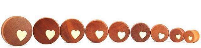 Heart wood plugs PAIR 2 brown insert gauge piercing body jewelry inlay organic…