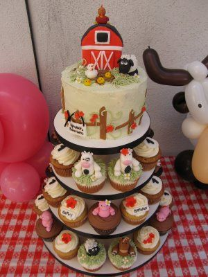 """I like the idea of a """"smash"""" cake for him at the top and then cupcakes for everyone else...: Cakes, Birthday Cake, Cupcake Towers, Blue Cupcake, Farm Party, Barnyard Cupcake, Baby Shower"""