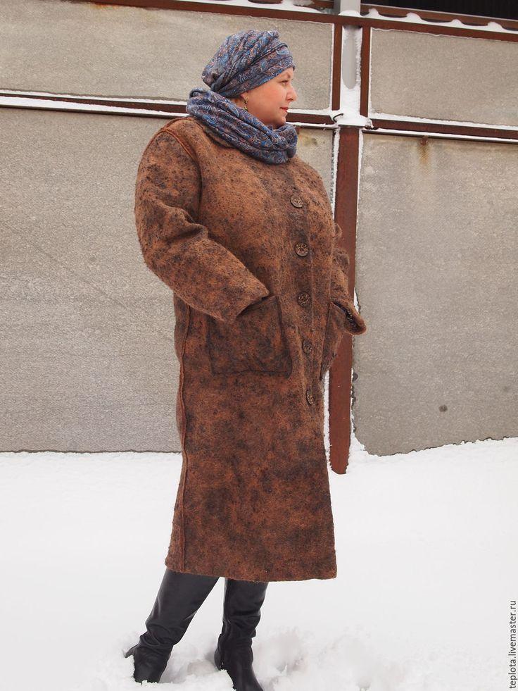 """Купить Пальто валяное """"Шоколадный микс"""" - пальто женское, пальто валяное, пальто из шерсти"""