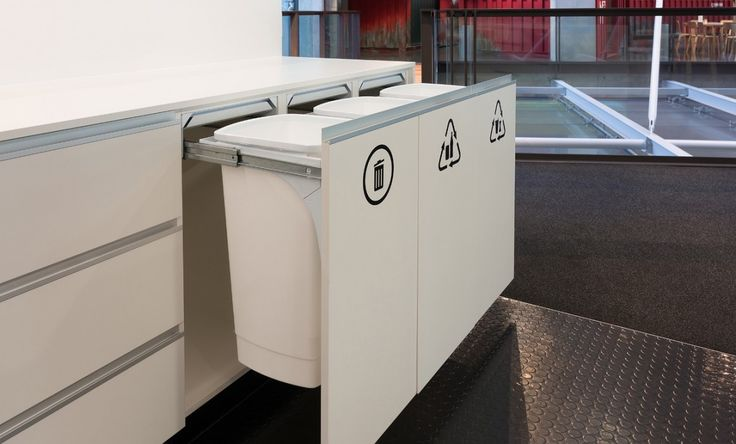 Office recycling station using Hideaway Soft Close 50L Bins - SC150D-W