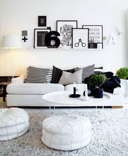 Fantastic black & white living room design.