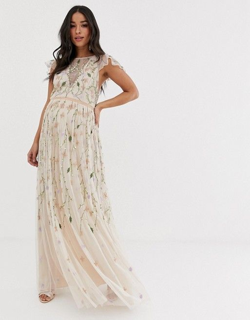 62f204de8b ASOS DESIGN Maternity pretty embroidered floral and sequin mesh maxi dress