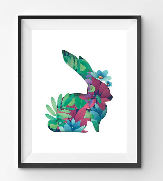 Bunny Made with Flowers in White Background Art Print Floral