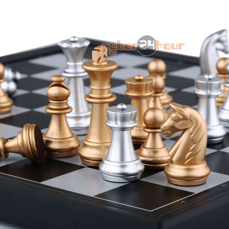 Magnetic Chess Set, Silver & Gold Pieces // Price: $37.95 & FREE Shipping //  We accept PayPal and Credit Cards.    #gameronboard #boardgame #cardgame #game #puzzle #maze #toys #chess #dice #kendama #playingcards #tilegames