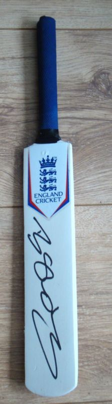 Mini England Cricket Bat Hand Signed In Black By Ben Stokes