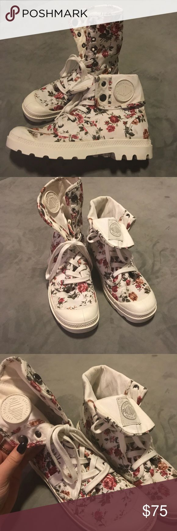 Palladium White Floral Boots Lace up white floral army boots. Originally purchased in Amsterdam! Easy to dress up or dress down! UK 5.5, USA 7.5, EUR 39. Palladium Shoes