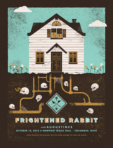 Frightened Rabbit / Augustines gig poster by Charlie Wagers