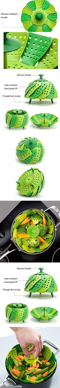 OUCHAN Vegetable Steamer Basket Folding Heat-Resistant Guard Triangle Sturdy Feet