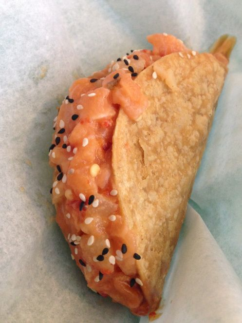 salmon poke taco and amazing goodness at Big & Littles (seen on Diners Drive Ins & Dives)