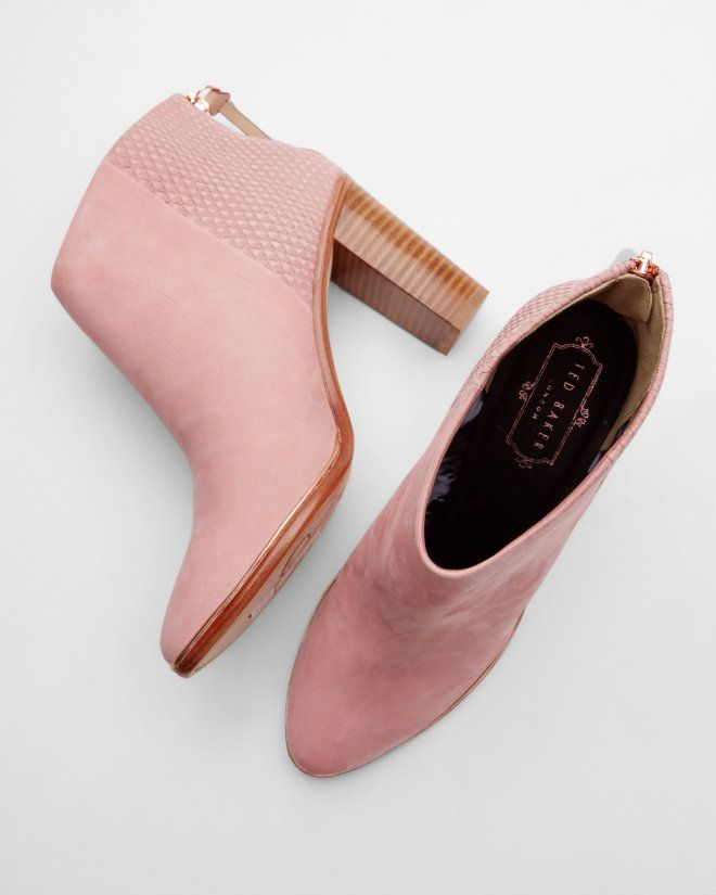 Textured leather ankle boots - Dusky Pink | Footwear | Ted Baker ROW
