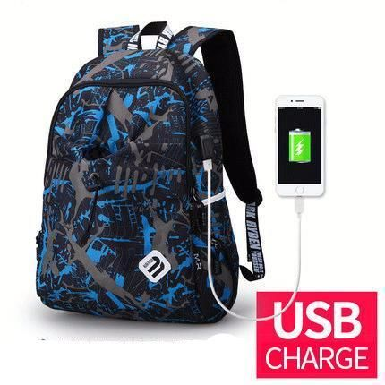 Fashion Student College Backpack With USB Charging Black Blue   Fashion Waterproof Backpack  Laptop Guy For Him School notebook external charge Vintage Bag awesome For sale gift ideas Products Shops Store Website online shopping internet links gift fashion Auhashop.com  For Modern Student Ideas School Accessories Cool Fashion Gift ideas