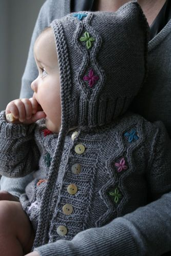 baby sweater with flower embroidery
