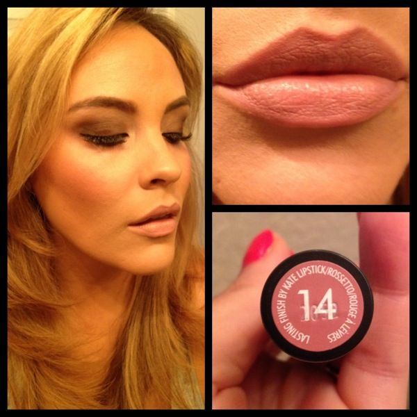 The perfect nude lipstick for a smokey eye: this little $4 find is my new fave!! rimmel london 8 hour wear by kate moss #14