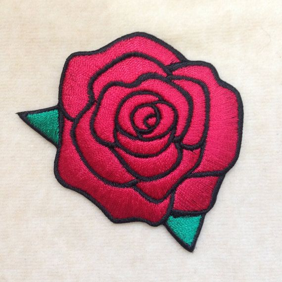 Rose Flower Iron On Patch #Red