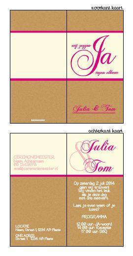 Trouwkaartje op karton met roze en crème . Ontwerp of bewerk dit kaartje zelf! Met onze ontwerp tool. www.trouwkaarten-drukkerij.nl #trouwkaarten, #wedding, #bruiloft, #kaartjes, #ontwerpen, #uitnodigingen