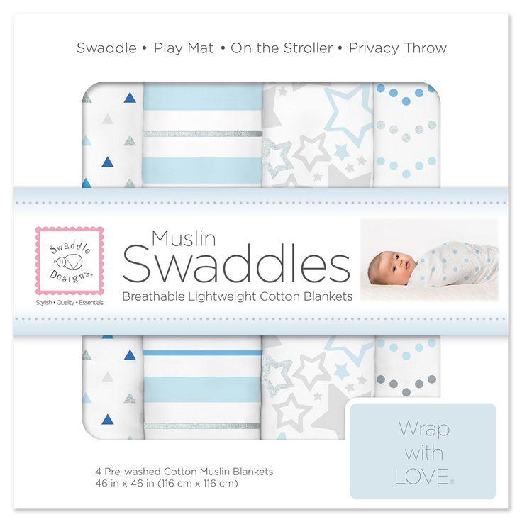 Swaddledesigns cotton muslin swaddle blankets set of 4