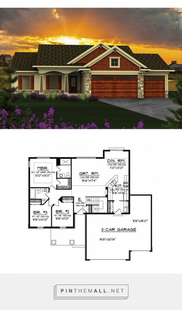 Change entrance to link garage with foyer. Ranch House Plan with 1351 Square Feet and 3 Bedrooms from Dream Home Source | House Plan Code DHSW076905
