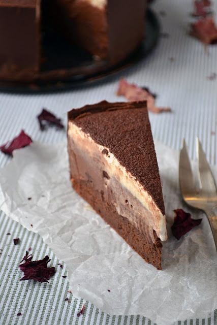 Croatian chocolate chestnut cream torte or cokoladna torta od kestena