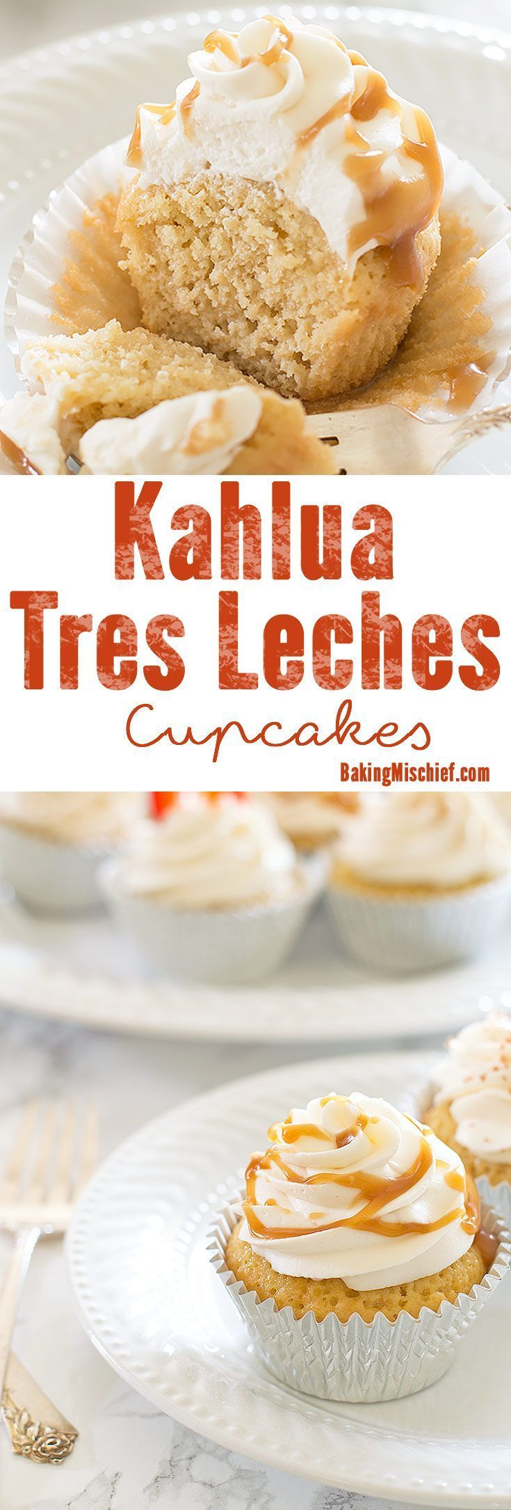 Classic Tres Leches cupcakes with a boozy Kahlua twist. An easy and delicious recipe just in time for Cinco de Mayo. Recipe includes nutritional information plus small-batch and non-alcoholic instructions. From http://BakingMischief.com