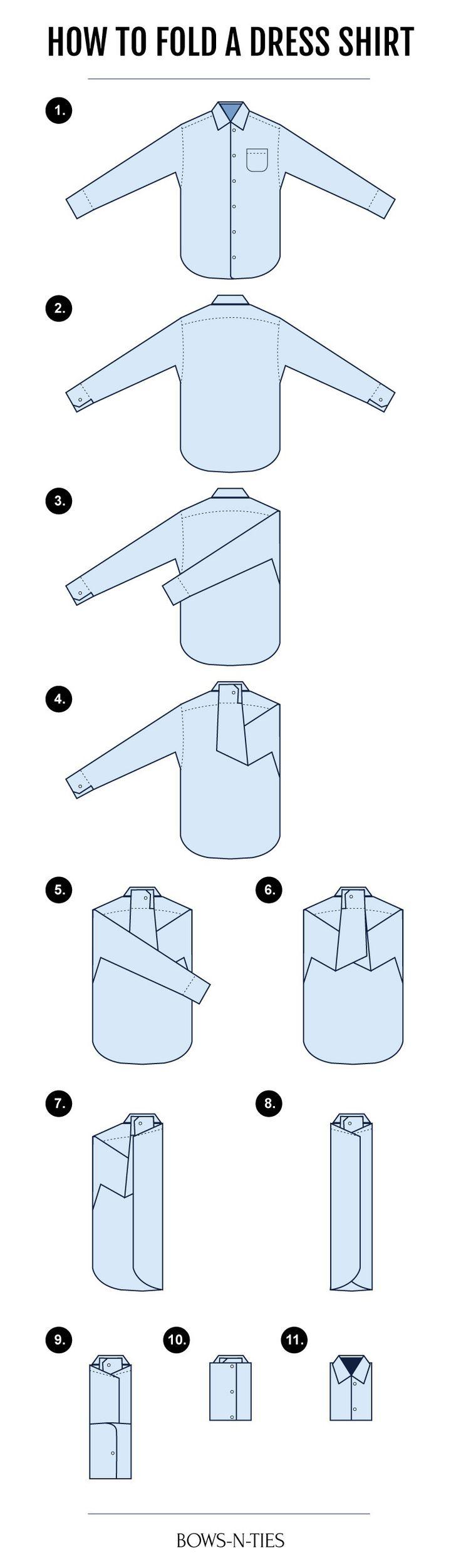 Cómo doblar una camisa para hombre. infografía