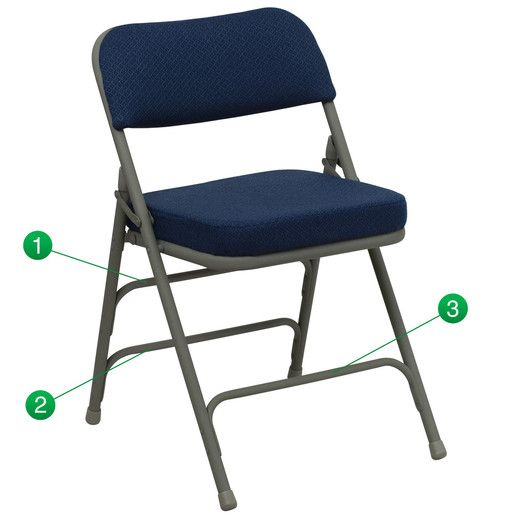 Flash Furniture Hercules Series Premium Curved Triple Braced & Quad Hinged Navy Fabric Upholstered Metal Folding Chair HA-MC320AF-NVY-GG