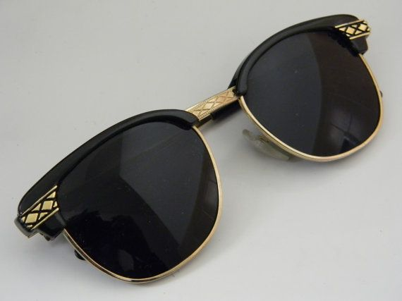 Vintage Deadstock CLUBMASTER Sunglasses BLACK with gold trim