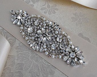 22 Crystal beaded Wedding Sash Jeweled Bridal Sash by VioGemini