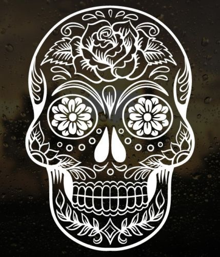 6-034-Sugar-Skull-Day-of-The-Dead-Die-Cut-Vinyl-Car-Decal-Sticker-Choose-Color-38