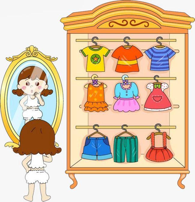 Cartoon Closet, Cartoon Clipart, Little Girl, Wardrobe PNG