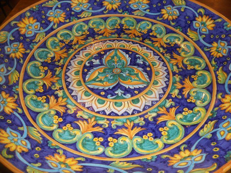 large thin amazing ceramics bowl in Geometrical pattern cm 45 made by Lorenza at Sbigoli, Florence