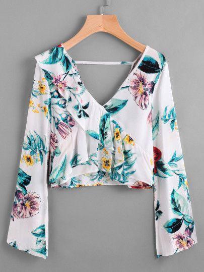 Plunging V Neckline Floral Print Frill Crop Top