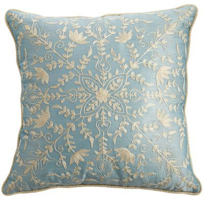 Crewel Embroidered Pillow - Blue