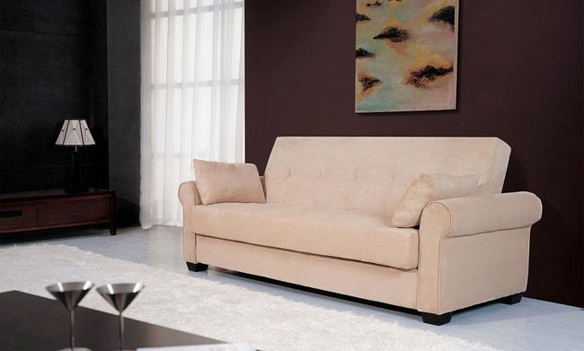 """mediterranean couch sleeper sofa. 500.  90"""" long.  Back folds all the way down for bed, holds sheets beneath cushion, or sets only halfway down to lounge."""