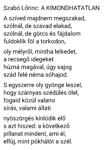 Szabó Lőrinc: A Kimondhatatlan