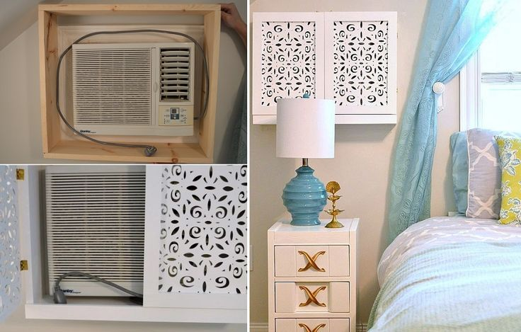Build a cupboard with laser-cut wood paneling around the AC unit.