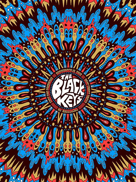 The Black Keys / Cage The Elephant gig poster by Nate Duval