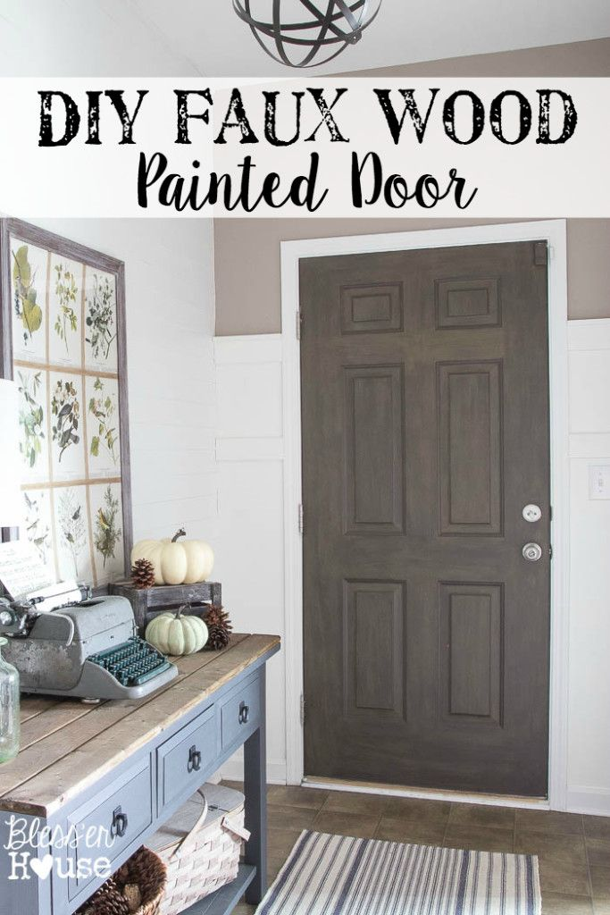 DIY Faux Wood Painted Door | Bless'er House -  This only costs $7 to transform a plain, white front door!