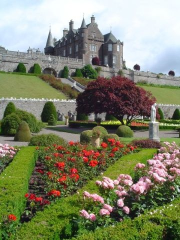 The stunning gardens of Drummond Castle, Scotland. If anyone saw Liam Neeson in the film Rob Roy they will recognise the extraordinary gardens featured in the film. Regarded as  among the finest gardens in Europe