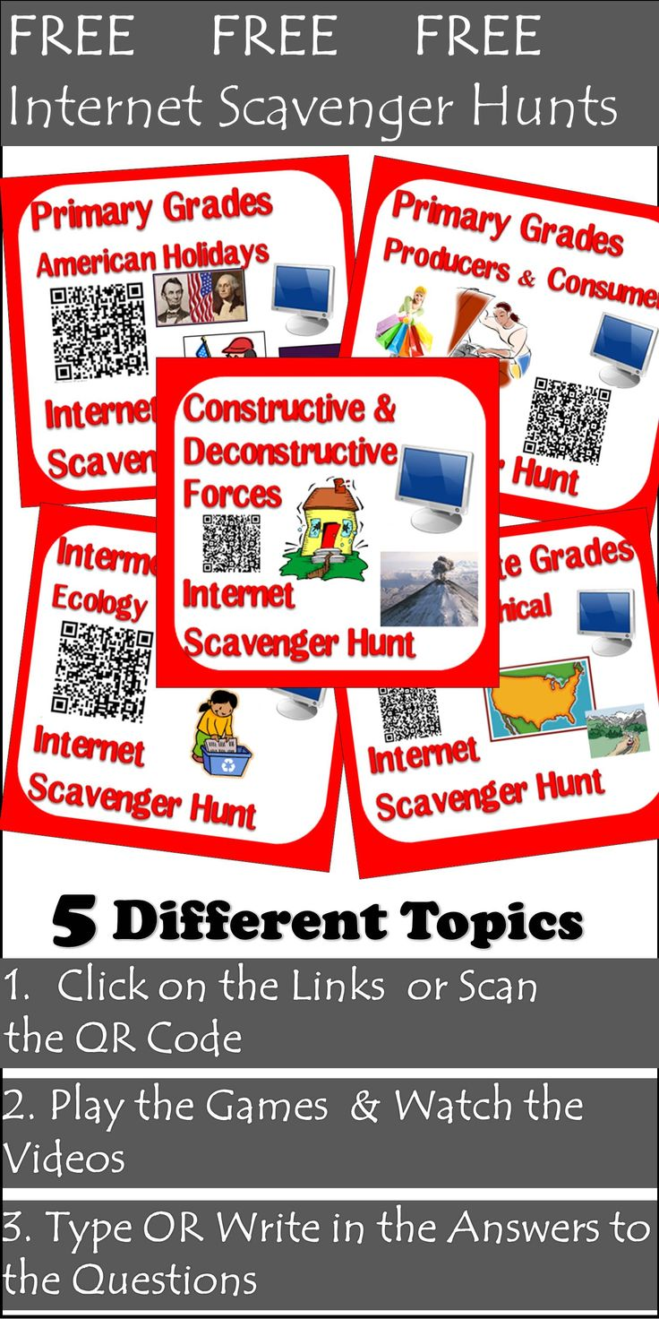 These five internet scavenger hunts (all listed seperately) are available for free.  Each internet scavenger hunt includes three variations - type on, clickable links and QR codes.  Download each of these five topics absolutely FREE.  American Holidays Producers and Consumers Ecology Geographical Features of the US Constructive and Destructive Forces