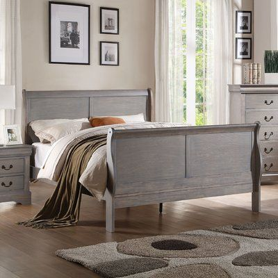 Alcott Hill Larsen Traditional Sleigh Bed Size: Eastern King, Color: Antique Gray
