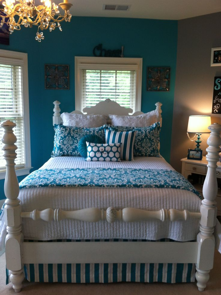 Blue, white and yellow  Paint the bed white  Bed skirt for a clean look and under bed storage.