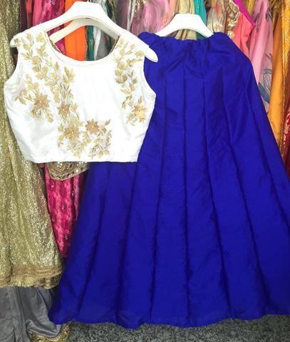 Buy Lehenga Online Cheap Blue Raw Silk ,Indian Dresses - 2